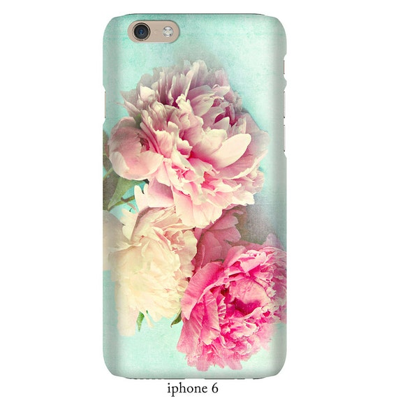 "Floral phone case, pink peonies,iphone 5-8 Samsung  S5-S8 case, ""like yesterday""aqua,flower,girly,shabby chic,pastel phone case"