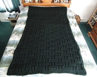 Black Hand Knitted Long Basketweave Afghan, Blanket, Throw - Home Decor