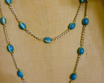 1960s Bead Chain Necklace Turquoise White vintage mid century