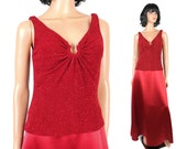 Vintage Cocktail Dress Sz M 10 Patra Red Satin Sparkly Glitter Sleeveless Gown Free US Shipping