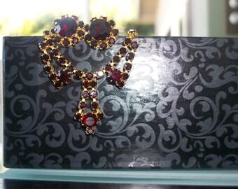 Lovely Garnet Red Rhinestone Parure Set