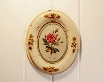 Vintage Rose Print, Oval Framed Print, Floral Print, Wood and Gesso Frame, Cream and Gilt Frame, Flower Print
