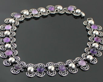 Vintage Mexican Amethyst and Sterling Silver Necklace by Margarita 1950