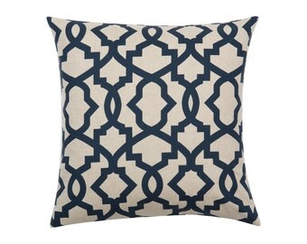 NAVY Pillow Cover.Decorator Pillow Cover.Home Decor.Large SHEFFIELD INDIGO Print.Cushions. Cushion.Pillow. Premier Prints