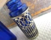 Vintage Cobalt Blue and Silver Glass Bottles Crafting Supply Former Salt Pepper
