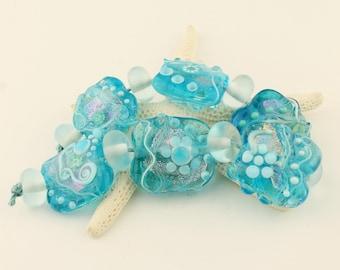 Lampwork Glass Bead Set Organic Iridescent Aqua Blue Pink Dichroic 'Tropical Waters'