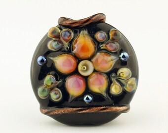 Black Lampwork Glass Bead,  Handmade, SRA  Black and Hot Pink Ornate Raku Lentil   'Fiori'
