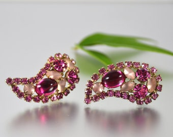 Pink Paisley Rhinestone Earrings Jelly Frosted Clip-On Vintage - W3382