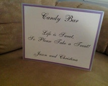 Tented 8 x 10 candy bar sign, Folded, Table Tent, Self Standing, Layered Sign,