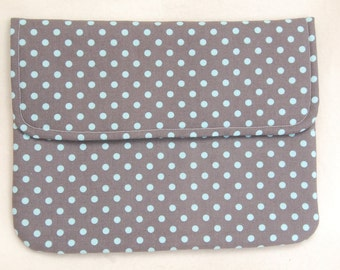 tablet computer case . large pouch . grey teal polka dot . turquoise/aqua lining