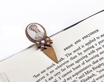 Vintage Limoges Brass Bookmark Marie Antoinette Cabochon Antique Brass Bow Swarovski Crystals Rose Gold Rust White Shabby Chic Victorian