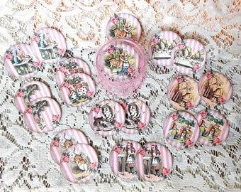 Alice in Wonderland Box with set of 20 Round STICKERS- Alice in Wonderland party Alice in Wonderland jewelry storage Alice round plastic box