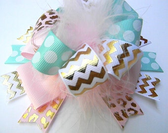 Pink Aqua Gold Hair bows - Over the top Gold foil bow-Metallic gold foil bow