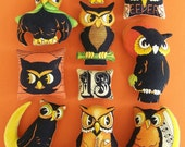 Set of 10 Primitive Halloween Owl Ornies Tucks Bowl Fillers Shelf Sitters Pillows Trick or Treat Non Candy Gift