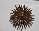 Vintage Monet Golden Starburst Design Brooch- Hollywood Regency