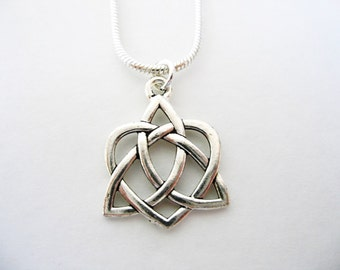 Irish love knot etsy valentines silver celtic heart love knot irish triquetra necklace silver trinity knot necklace mozeypictures Image collections