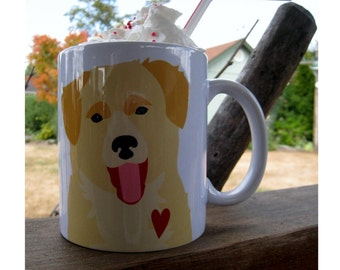 Golden Retriever Mug, My Heart Has Gone to the Dogs™, Golden Retriever Art, Dog Coffee Mug, Dog Lover Gift, Dog Quote, Dog Artwork