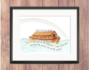 Noahs Ark, Bible Verse art print, scripture design, hand lettered typography, wall art decor