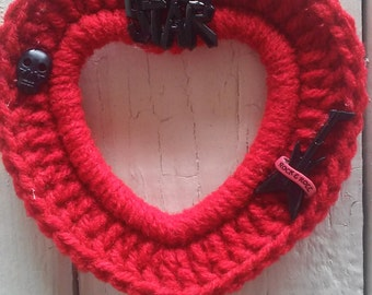 Crochet Photo frame, Heart Frame, Ornament, Hang Tag, Rock Star in Red