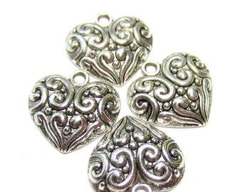 8 Silver Heart charms bracelet dangel earring drop jewelry supplies 20mm x 20mm puffy heart charms H 2923