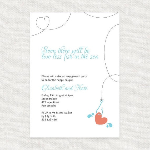 Hooked On You Engagement Party Invitation Printable File