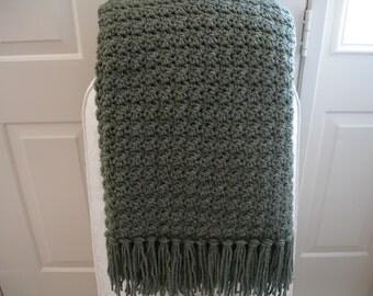 Wool-Blend Medium Green Afghan Throw Blanket