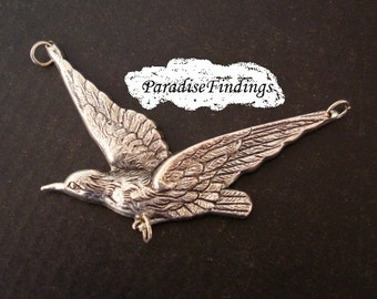 1 GOTHIC SILVER Left Flying Raven, Pendant or 3 Way Connector