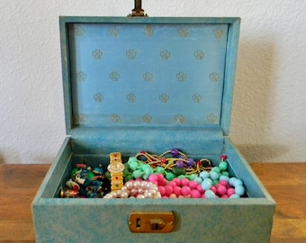 Vintage Green and Gold Jewelry Box with an Instant Collection of Vintage Costume Jewelry