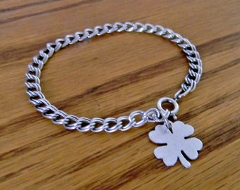 Vintage Sterling Silver Charm Bracelet and Lucky Four Leaf Clover Charm