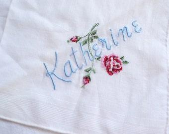 Vintage Hankie - Embroidered Katherine
