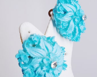 Vintage Carved Celluloid Turquoise Earrings 1930s Victorian Art Nouveau Rhinestones Crystals RhinestonesRunway Statement