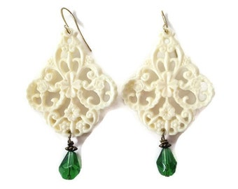 Tranquility Resin Filagree Cream Dangle Earrings on Gold Hooks with Green Crystal Drops