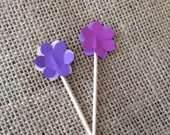 Flower Cupcake Toppers Appetizer Picks - custom colors