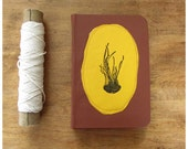 Jellyfish Pocket Size Journal - Leather Notebook  - Cinnamon and Yellow Leather - Blank book - Notebook -  Recycled Paper