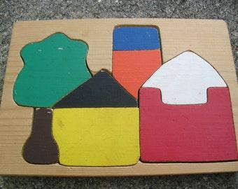 Vintage Wooden Puzzle  Vintage Handmade Wood Block Vintage Farm Puzzle