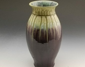Pottery Vase Porcelain handmade Purple Fern Porcelain by Mark Hudak
