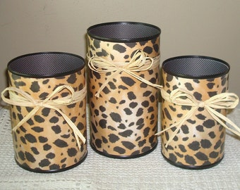 Cheetah Print Desk Accessory Set - Pencil Holder - Pencil Cup - Office Organization - Office Decor - 758