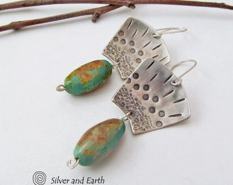 Sterling Silver & Turquoise Earrings Artisan Handcrafted Metalsmith Jewelry Unique Tribal Exotic Egyptian Earrings Genuine Turquoise Jewelry
