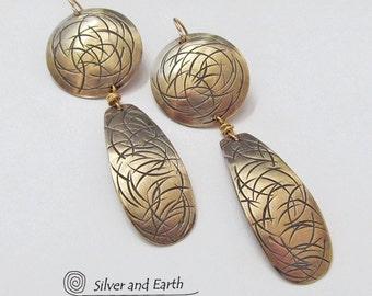 Gold Earrings, Modern Brass Earrings, Long Dangle Earrings, Contemporary Modern Metal Jewelry, Everyday Earrings, Artisan Handmade Jewelry