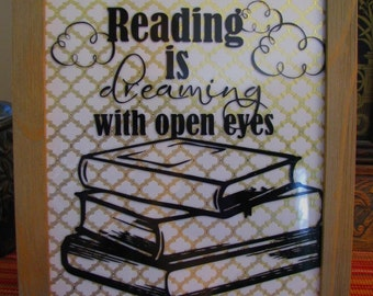 Reading is Dreaming Vinyl Inpirational Quote for Classroom Decor