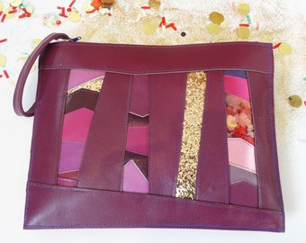 Deep Purple Leather & gold glitter wristlet, glitter clutch, purple leather bag, statement clutch