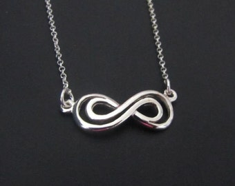 Double Infinity Necklace, Sterling Silver, Wedding Jewelry, Wedding Necklace, Gift
