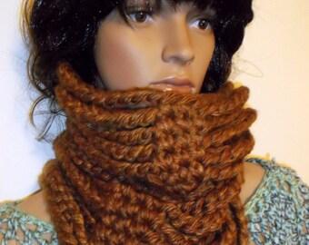 Hand Crochet Chain Neckwarmer BRONZE, Chain Warmer, Chain Cowl. Crochet Infinity Scarf, Chunky Chain Neckwarmer