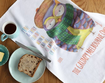 Grumpy Melbourne Owl Tea Towel, Quirky Australiana, Novelty Tea Towel, unique gift idea
