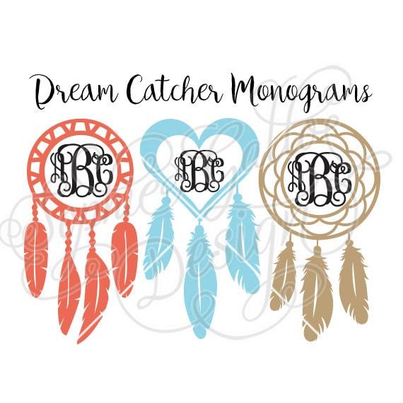 Dreamcatcher Monogram Frames Svg Dxf Png Digital Download