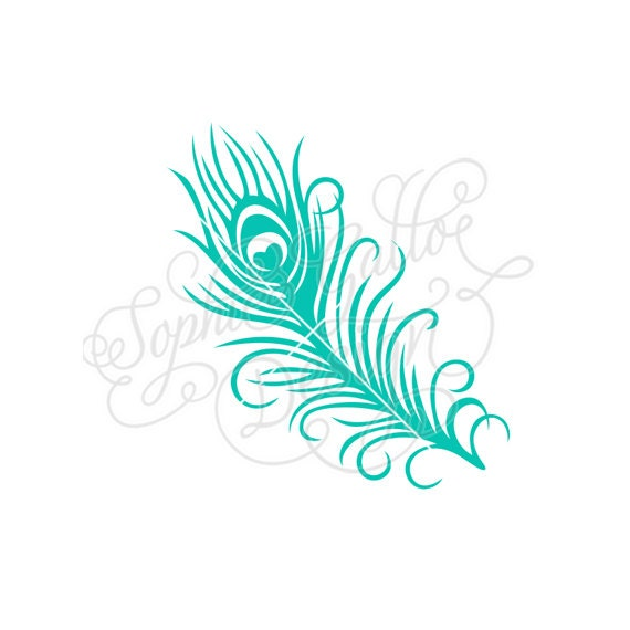 Small Peacock Feather Svg Dxf Digital Download Files For