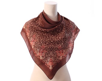 Brown BOHO Scarf 70s Vintage Neckerchief Rust Beige 1970s Shawl Floral Print  Square Neck Scarf 30 inch Muffle Bohemian Neckwear  Moms Gift