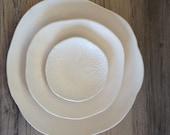 Ceramic dinner plates - White dinnerware plates (white on white ) ceramic bowl handmade tableware dishes dinnerware by Christiane Barbato