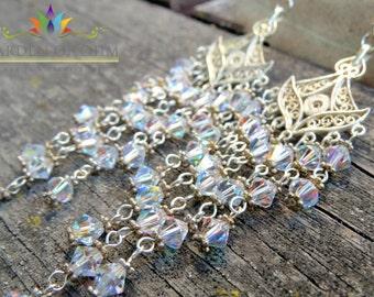 Wedding Chandelier Earrings w Cascades of Swarovski Crystals, Gold Earrings, Victorian Crystal Earrings, Dramatic Bridesmaids Earrings