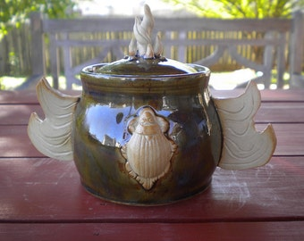 Olive Scarab Flaming Winged Lidded Pot